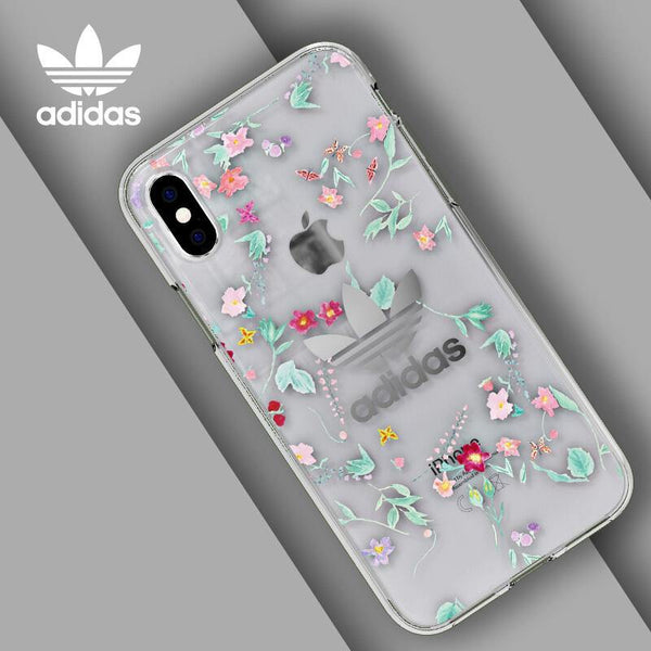 new arrival 25ca7 a9f8b adidas Originals Floral Graphic AOP Clear Snap Case Cover for Apple iPhone  XR/XS/X