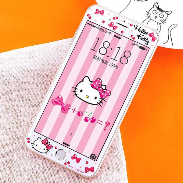 apbs Hello Kitty 3D Full Size 9H Hardness Tempered Glass Screen Protector for Apple iPhone