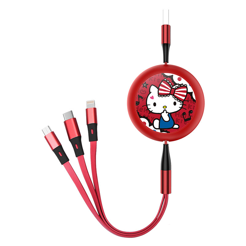 UKA Hello Kitty Retractable 3-in-1 Lightning+Type-C+Micro USB Cable
