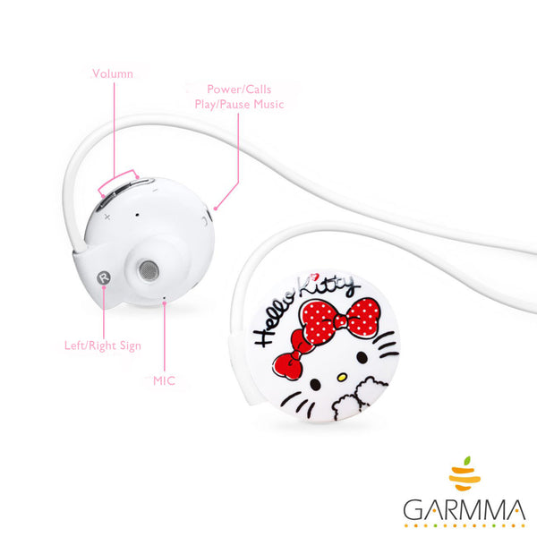GARMMA Hello Kitty Bluetooth Headset Sports Earphones Wireless Headphone with MIC