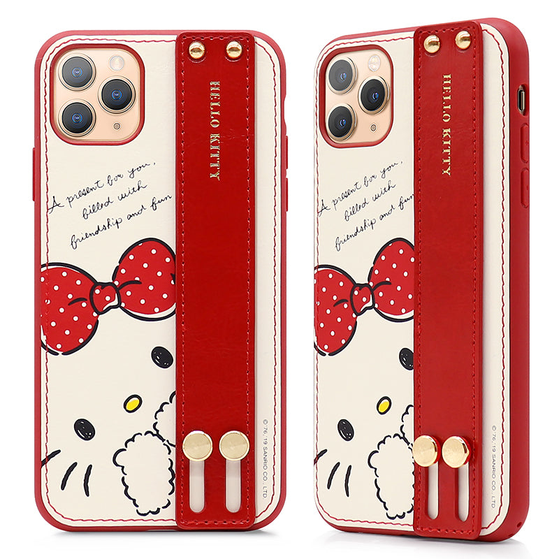 GARMMA Hello Kitty Adjustable Wrist Strap Kickstand Leather Case Cover