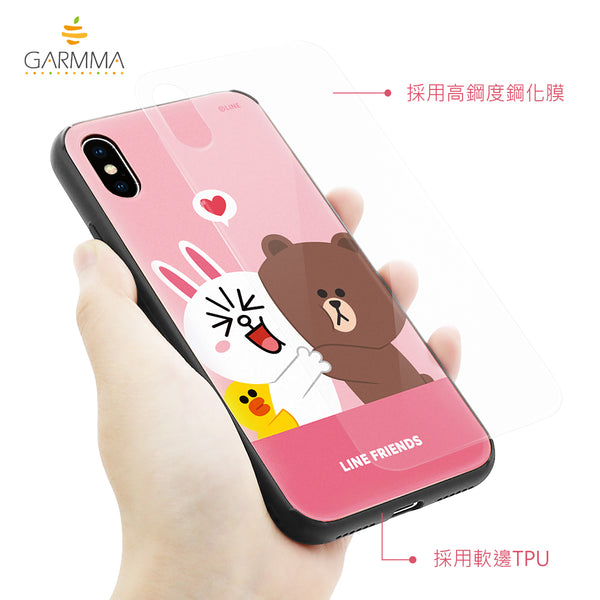 GARMMA Line Friends Tempered Glass Back Case Cover for Apple iPhone X/8 Plus/7