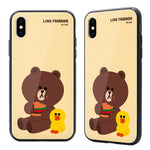 GARMMA Line Friends Tempered Glass Back Case Cover for Apple iPhone