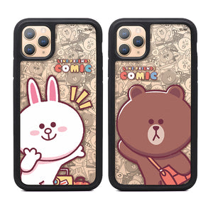 GARMMA Line Friends Comic Air Barrier Shockproof Tempered Glass Back Case Cover