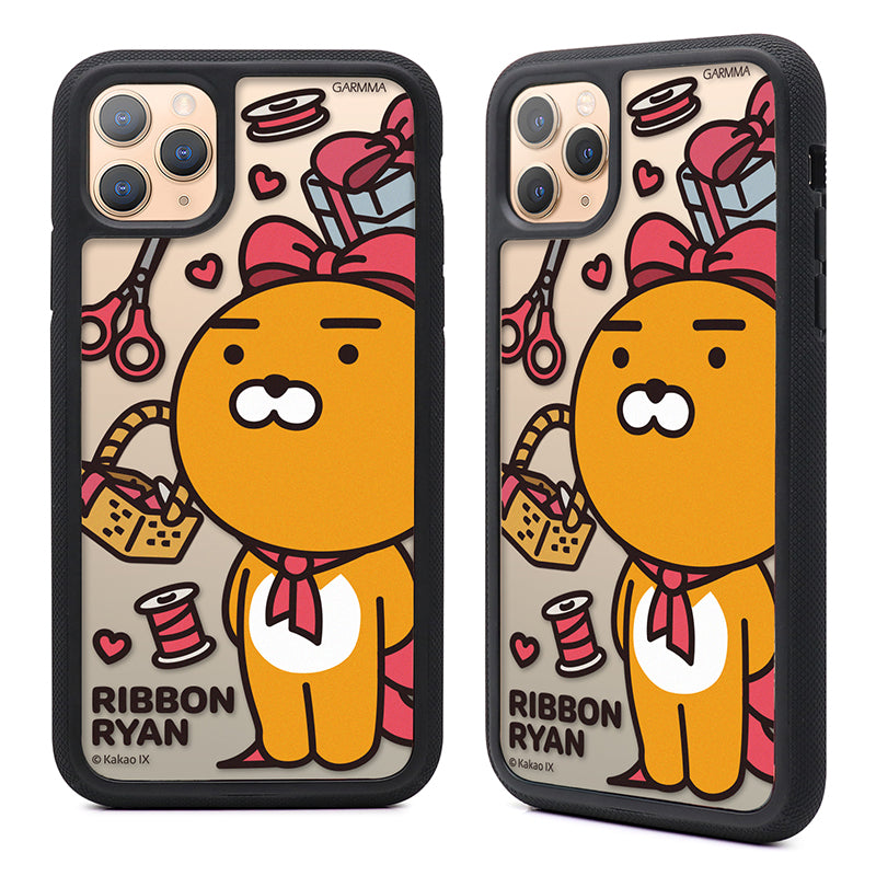 GARMMA Kakao Friends Ribbon Air Barrier Shockproof Tempered Glass Back Case Cover