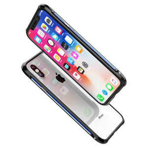 GINIMIC Contrast Color Sword Slim Light Aluminum Bumper Metal Shell Case for Apple iPhone X