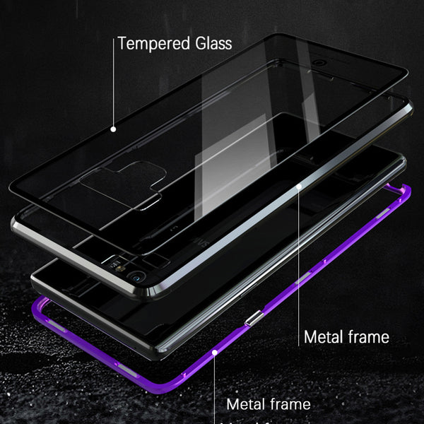 GINMIC Magneto Sword Magnetic Absorption Aluminum Metal Bumper Tempered Glass Back Cover Case