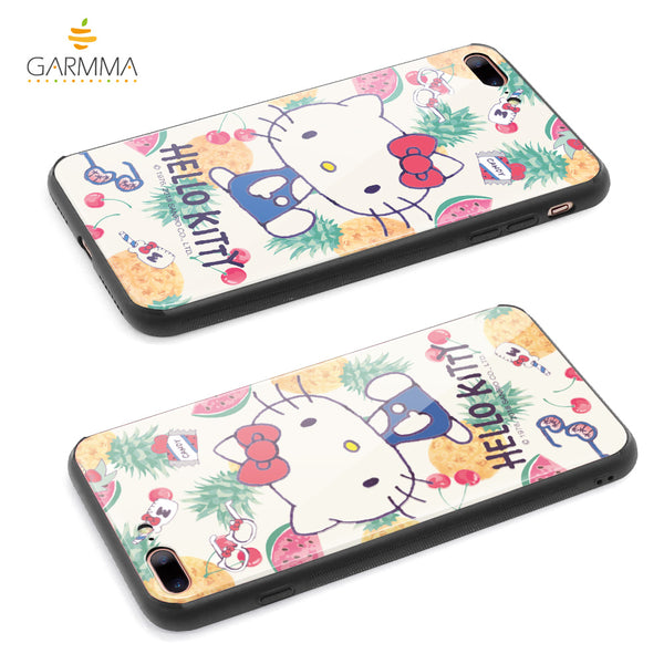 GOMO Hello Kitty & Little Twin Stars & My Melody Tempered Glass Back Case Cover