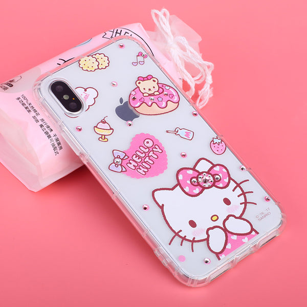 on sale 6165b 21e7d gourmandise Hello Kitty Shockproof Air Barrier Transparent TPU Soft Cover  Case for Apple iPhone X
