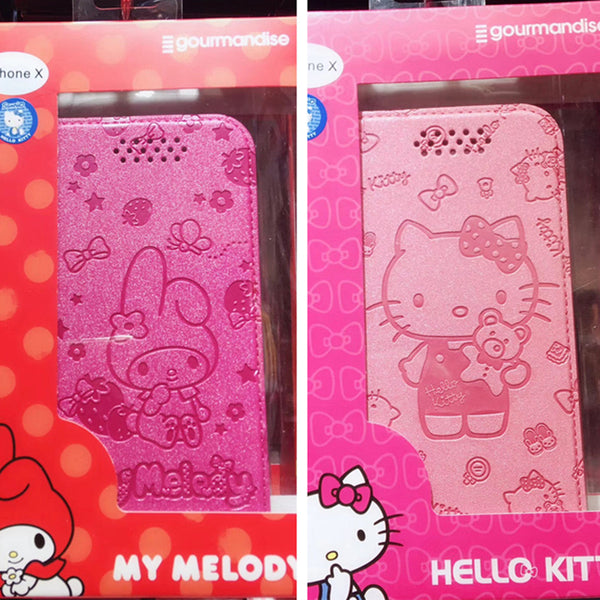 gourmandise Hello Kitty & Little Twin Stars & My Melody Wallet Case w/ Card Slots for iPhone X