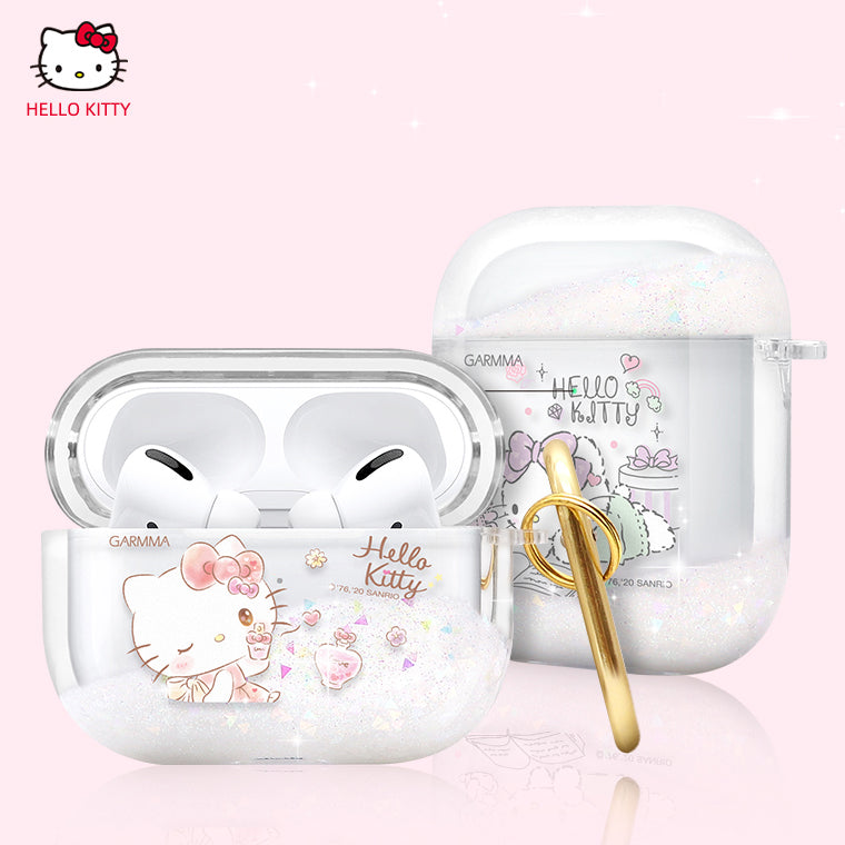 GARMMA Hello Kitty Glitter Quicksand Apple AirPods Pro/2/1 Charging Case Cover with Carabiner Clip