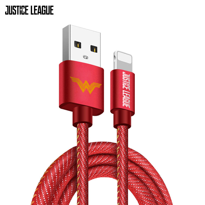 Justice League Nylon Braided 1M 2.4A Fast Charging Apple Lightning / Type-C / Micro USB Cable