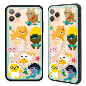 GARMMA Kakao Friends Air Cushion Shockproof Tempered Glass Back Case Cover for Apple iPhone