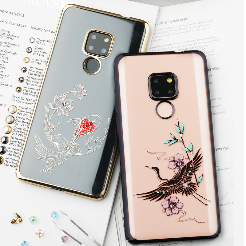 KINGXBAR Swarovski Crystal Clear Hard PC Case Cover for Huawei Mate 20 Pro & Huawei Mate 20