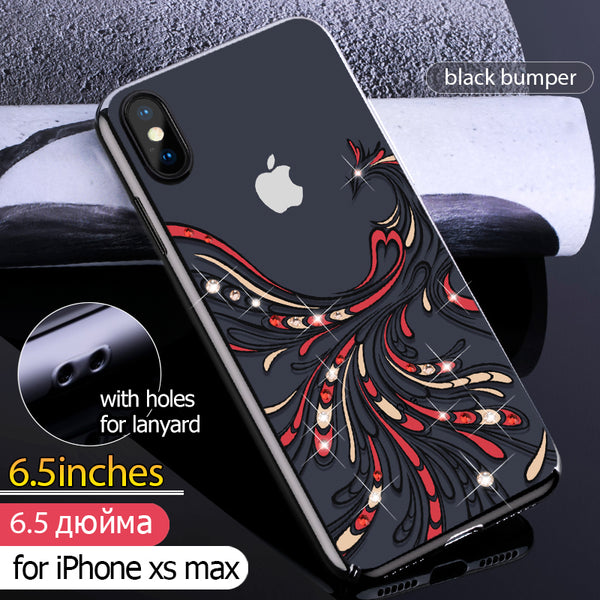 size 40 bc2cd 2a0df KINGXBAR Swarovski Crystal Clear Hard PC Case Cover for Apple iPhone XS Max