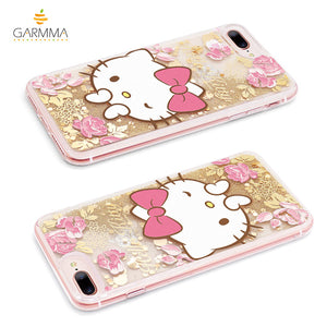 GARMMA Hello Kitty Cameo Shiny Air Cushion Glitter Quicksand Back Case for Apple iPhone XS/8 Plus/7 Plus
