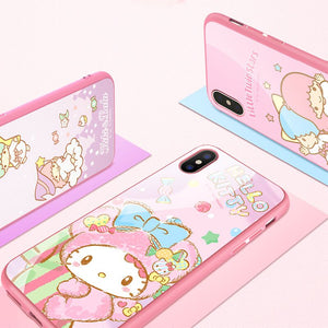 X-Doria Hello Kitty & My Melody & Little Twin Stars Tempered Glass Back Case for Apple iPhone XS/X