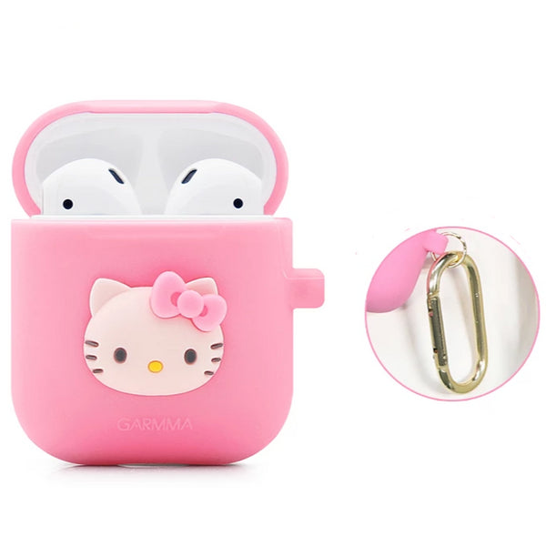 GARMMA Hello Kitty Shockproof Apple AirPods Charging Case Cover with Carabiner Clip