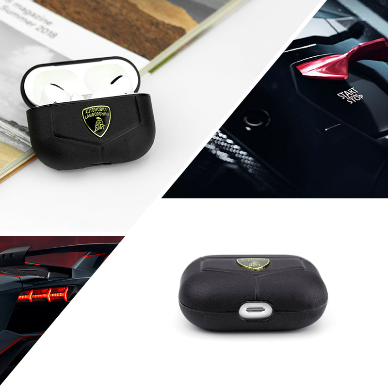 Automobili Lamborghini Huracan D1 Genuine Leather Apple AirPods Pro/2&1 Charging Case Cover