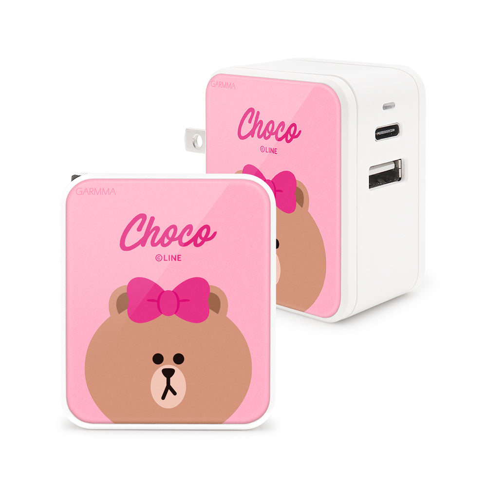 GARMMA Line Friends Type-C+USB 3.4A Quick Charge Foldable Travel Charger