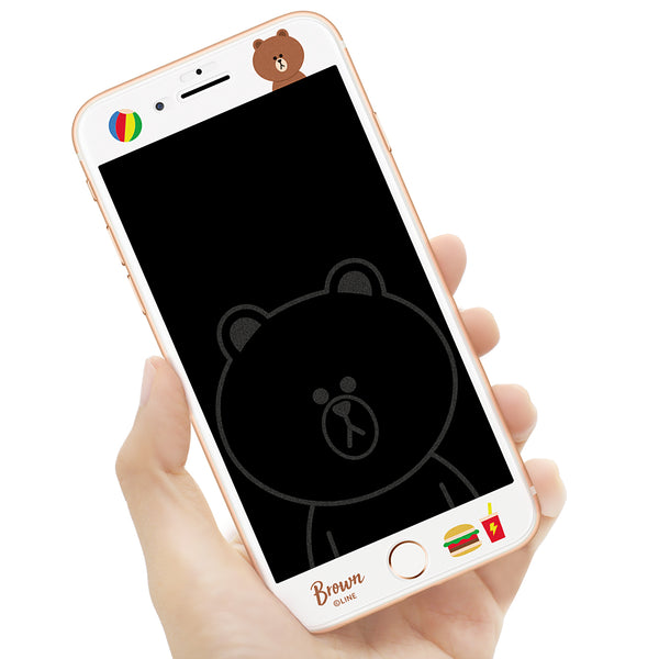 GARMMA Line Friends Screen Off Print Tempered Glass Protector Film for Apple iPhone 8 Plus/7 Plus/6S Plus