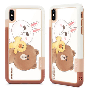 GARMMA Line Friends Shockproof Silicone Bumper Tempered Glass Back Case Cover
