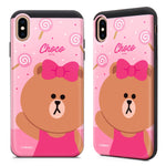 GARMMA Line Friends Card Slot Shock Absorption Dual Layer Slider Cover Case