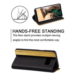 LS Luxury Natural Wooden Kickstand Flip Leather Case Cover
