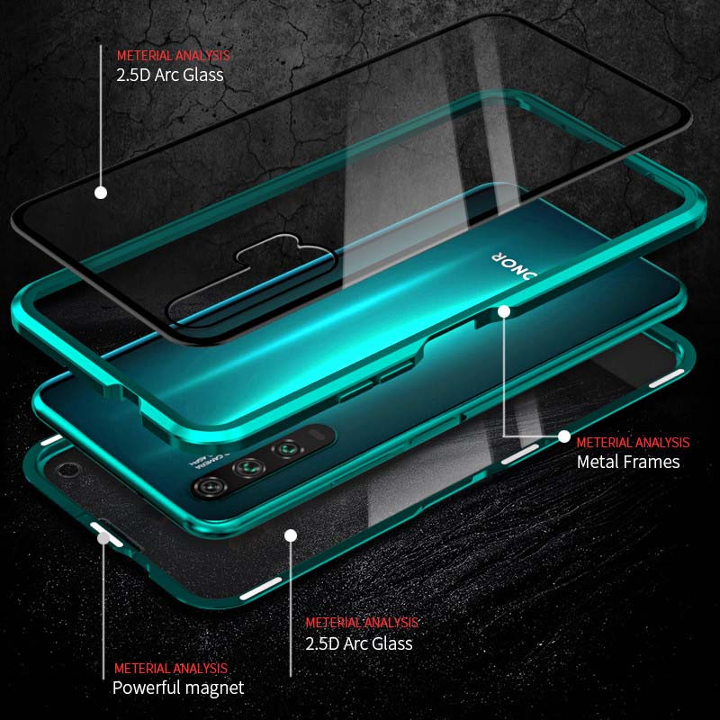 Luphie Sword Magnetic Absorption Aluminum Metal Bumper Front+Back Tempered Glass Case Cover