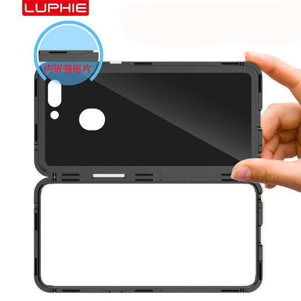 Luphie Magneto Magnetic Absorption Aluminum Metal Bumper Tempered Glass Back Cover Case
