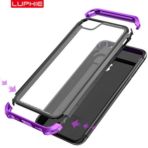 Luphie Nunchaku Airframe Metal Frame Air Barrier Tempered Glass Back Case Cover