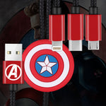 X-Doria Marvel Avengers 1.2M 2.1A Fast Charging 3-in-1 Lightning+Type-C+Micro USB Cable