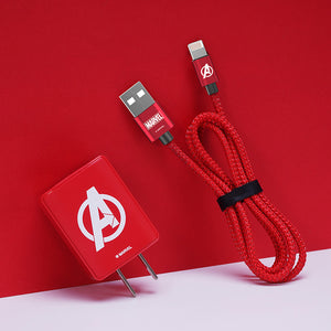 UKA Marvel Avengers Dual Port USB Charger + Apple Lightning Cable Travel Charging Kit