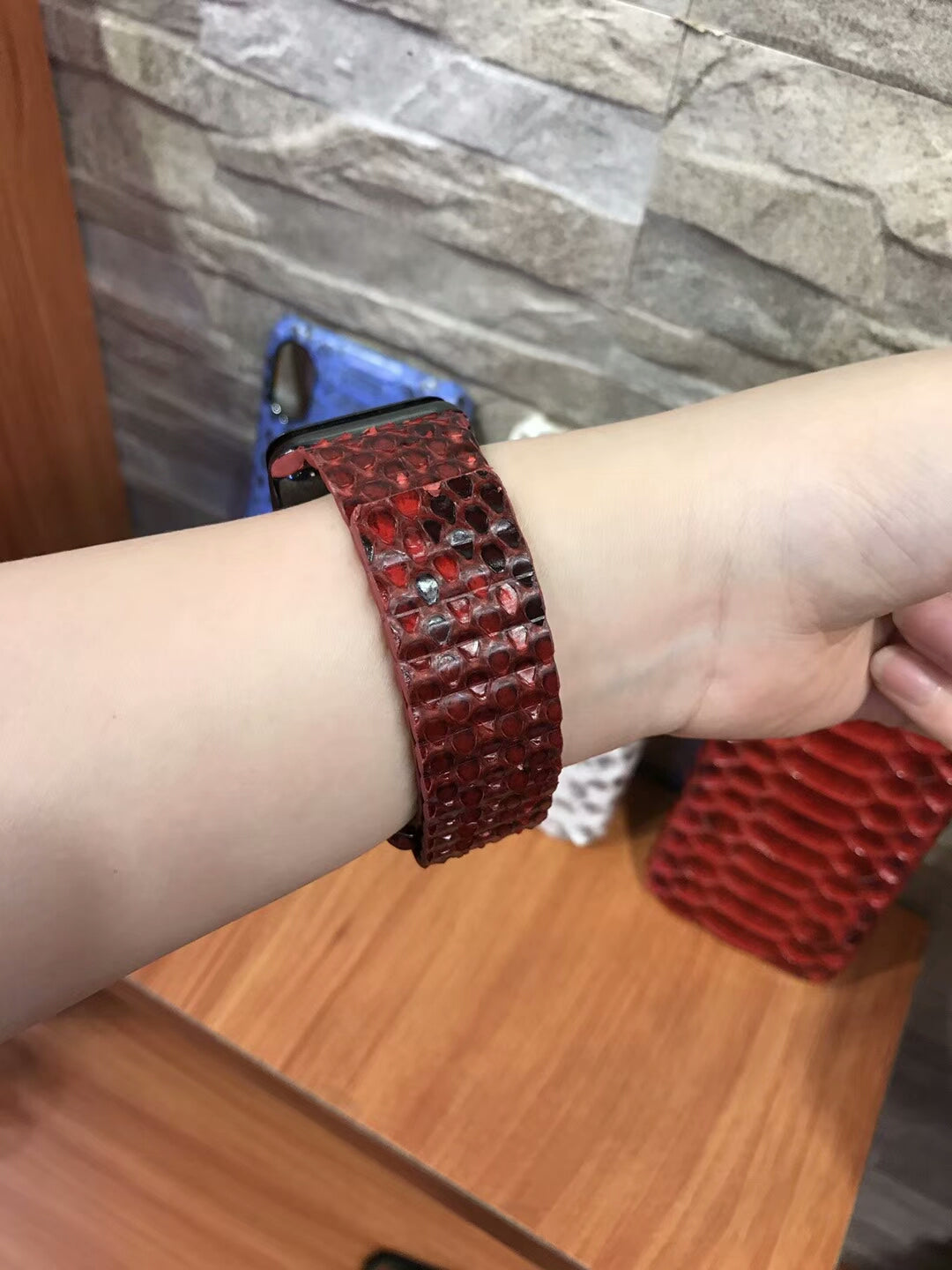 i-idea Genuine Real Python Snake Skin Leather Loop Watchband for Apple Watch
