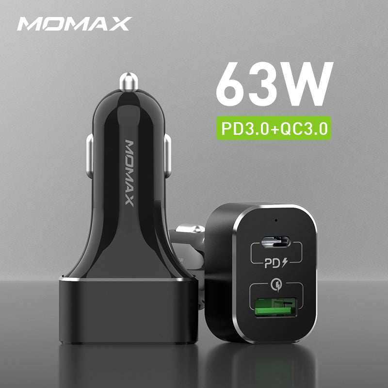 MOMAX UC11 63W PD+QC3.0 Dual-port Fast Car Charger