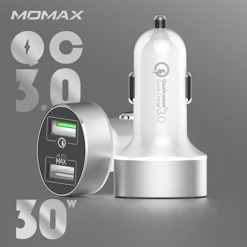 MOMAX UC9 30W AutoMax QC3.0 Dual-port Fast Car Charger