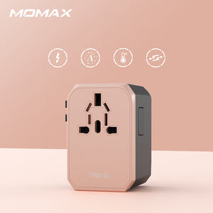 MOMAX 1-World USB AC Travel Adapter (Type-C + 4 USB-A) Global Charging Socket