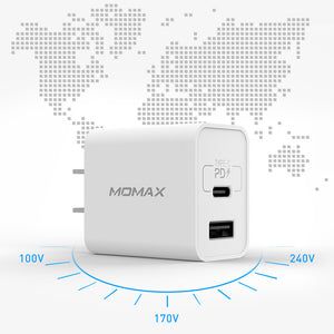 MOMAX One Plug 2 Ports USB Fast Charger (Type-C PD + QC 3.0 USB)