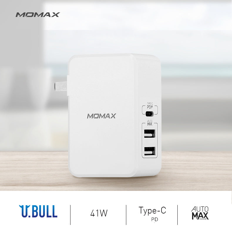 MOMAX U.Bull 41W AutoMax Type-C (PD) Dual USB Charger