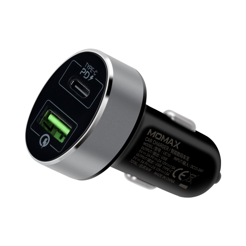 MOMAX UC10 36W PD+QC3.0 Dual-port Fast Car Charger