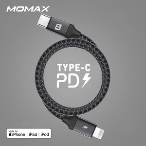 MOMAX Zero MFI Certified 18W 3A Braided Nylon Apple Lightning to Type-C Cable