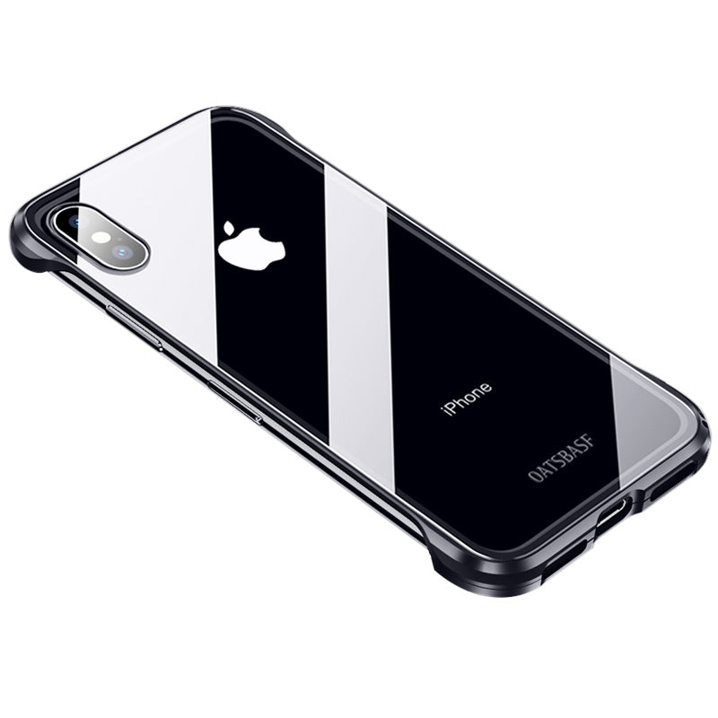 Oatsbasf Borderless Aluminum Metal Frame Clear 9H Tempered Glass Back Cover Case