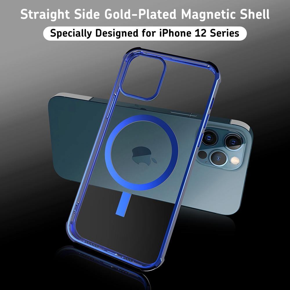 R-Just Magnetic Wireless Charging Rotating Sound Electroplating Soft TPU Shockproof Clear Back Cover