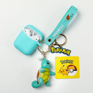 Pokémon Pocket Monsters Apple AirPods Pro&2/1 Silicone Skin Case w/ Keychain Pendant & Anti-Lost Strap