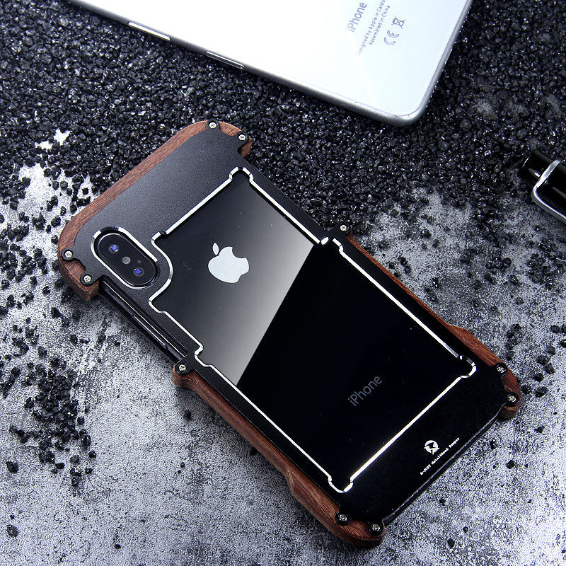 R-Just IRONWOOD Light Slim Timber Aluminum Metal Wood Bumper Case Cover