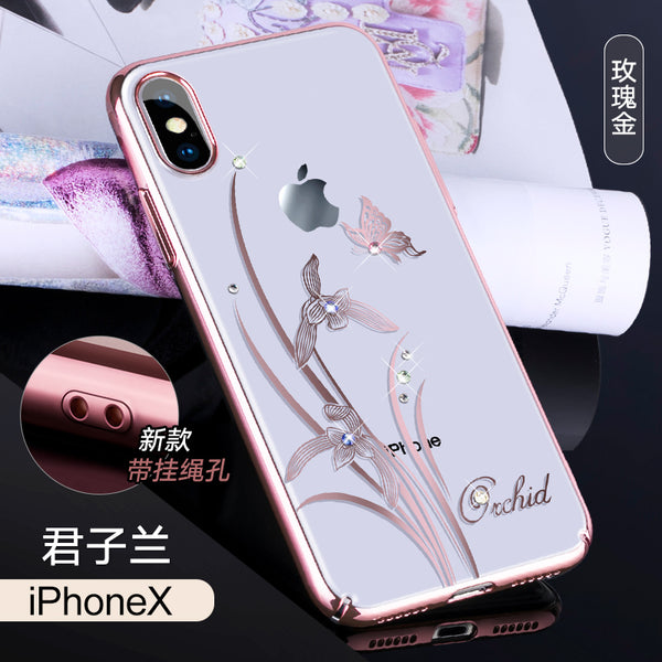 KINGXBAR Swarovski Crystal Clear Hard PC Case Cover for Apple iPhone X