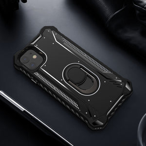 S.CENG Tank Shockproof Metal+TPU Rugged Heavy Duty Case w/ Ring Holder