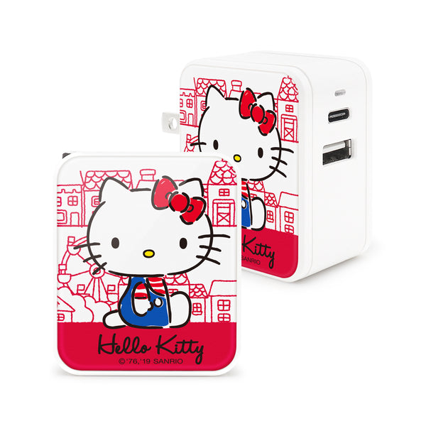 GARMMA Sanrio Characters Type-C+USB 3.4A Quick Charge Foldable Travel Charger