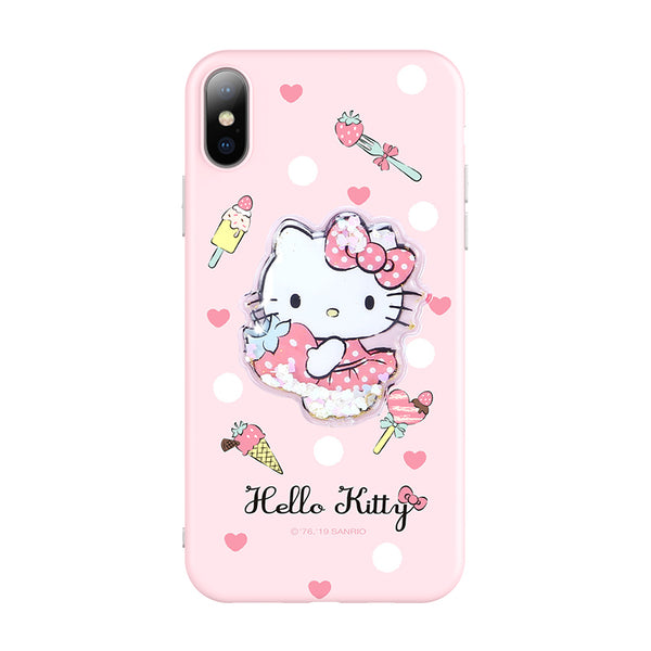 UKA Hello Kitty & Little Twin Stars & My Melody Velcro Glitter Quicksand Back Case Cover