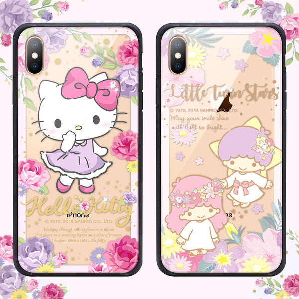GARMMA Sanrio Characters Flower Swarovski Diamonds Shockproof Tempered Glass Back Case Cover